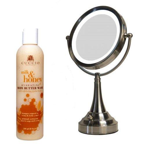 Zadro LEDV410 LED Lighted Vanity Mirror and Cuccio Milk & Honey Body Butter Wash