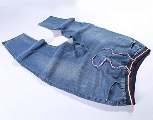 Allentati Lunghi Semplice Jeans Uomo Stile Denim E Da Slim Pantaloni Stretch Hellblau Moda Pants Casual AwqT78xRAP