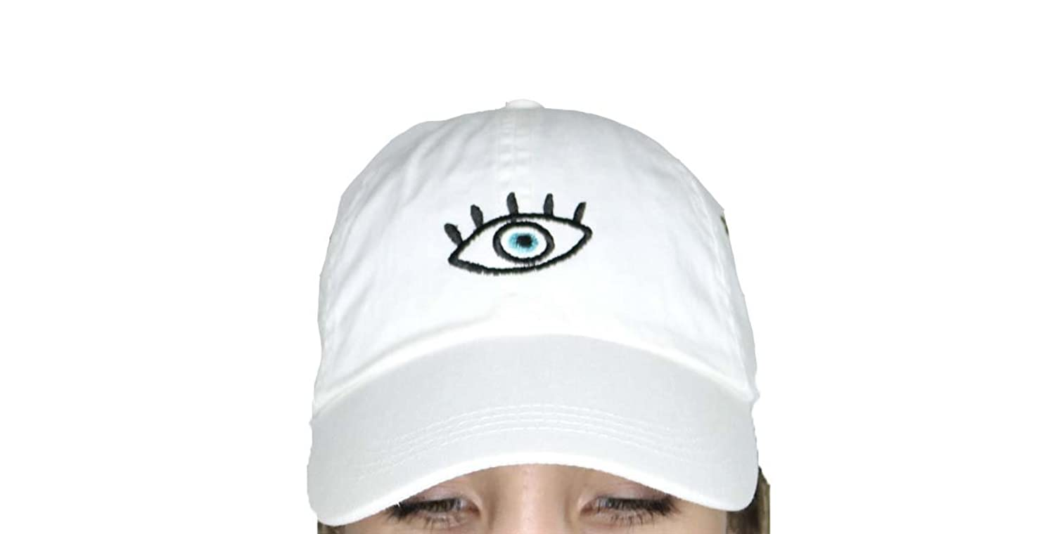 Third eye evil eye white baseball cap with embroidery on the front