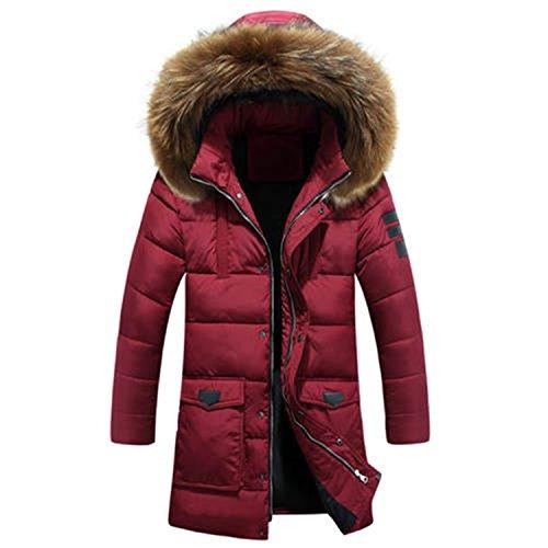 Parka Jacket Men Long Parka Men Cotton Padded Long Thick Warm Casual Jacket Men Dog Fur Collar Red L by Feilongzaitianba