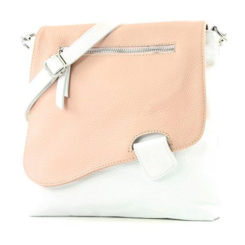 modamoda de - T146 - ital Messengertasche Umhängetasche aus Leder
