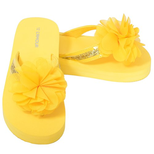 L'Amour Little Girls 12 Yellow Sequin Strap Flower Flip Flop Sandals (Sequin Flowers Sandals)