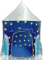 USA Toyz Rocket Ship Play Tent for Kids, Indoor Pop Up Playhouse Tent for Boys and Girls with Included Space P