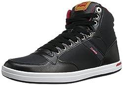 Levis Men's Wesley Hi Athletic Fashion Sneaker, Black/Navy/Red, 9.5 M US