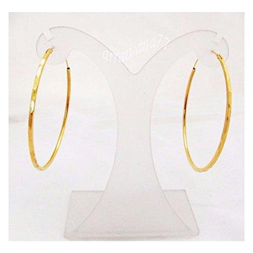 22k Gold Hoop Earrings (HOOPS CLASSIC THAI EARRINGS 22K 23K 24K THAI BAHT YELLOW GOLD PLATED 2 inch)