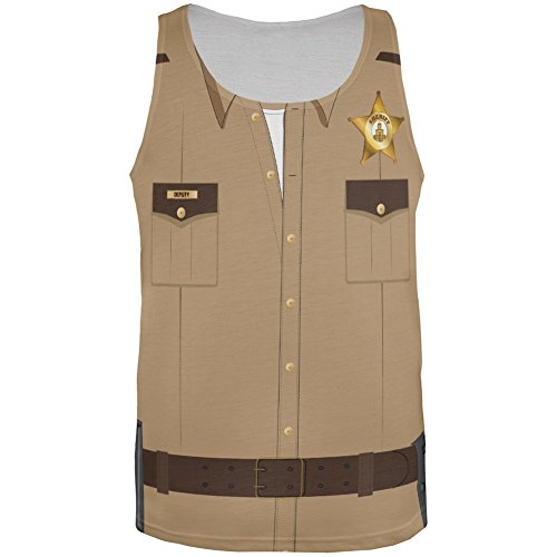 Halloween Sheriff Costume All Over Adult Tank Top - X-Large