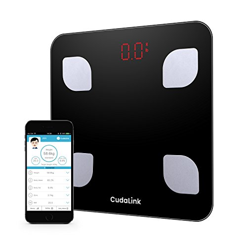 Precise Digital Body Analyzer Scale Weight, Body Fat, Body Mass, BMI & Body Water | 8 Measurement Parameters Bluetooth with iOS & Android App | LED Digital Accurate Body Composition Scale by CudaLink