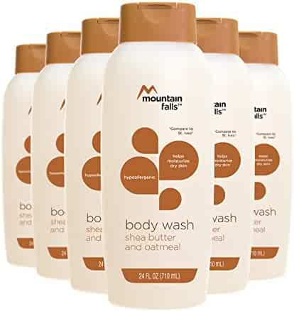 Mountain Falls Body Wash, Shea Butter and Oatmeal, Hypoallergenic, Compare to St. Ives, 24 Fluid Ounce (Pack of 6)