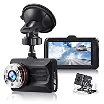 "TOGUARD Dual Dash Cam Car Camera Full HD 170° Wide Angle 3.0"" 1080P Front and 720P Rear View Backup Camera with Night Vision WDR G-Sensor Parking Monitor Loop Recording Motion Detection"