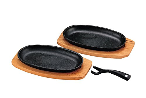 """M.V. Trading MTBSP2V Cast Iron Steak Plate Set Large with Wooden Board, 11¼""""(L) x 5¾""""(W) x 1¼""""(H), Set of 2"""