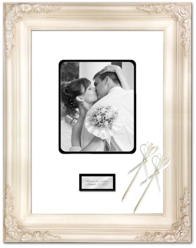 Anniversary Wedding Retirement Photo 20x24 Picture Frame White Milan Raised Floral Frame Guest Book Signature Autograph Frame Round Corner 8x10 Personalized Gold Silver Engraved Plate by FA Signature Picture Frame Company