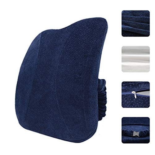 Back Support Wedge, Tuuu Memory Foam Arc Travel Pillow - Back Rest Aircraft pad Improves Blood Circulation and relieves Orthopedic Pain - Sciatica neurostress Relief (Dark ()