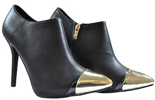 noir Dor Desire Haut Clothing cuir sexy Bottines simili Talon PffF7x8tn