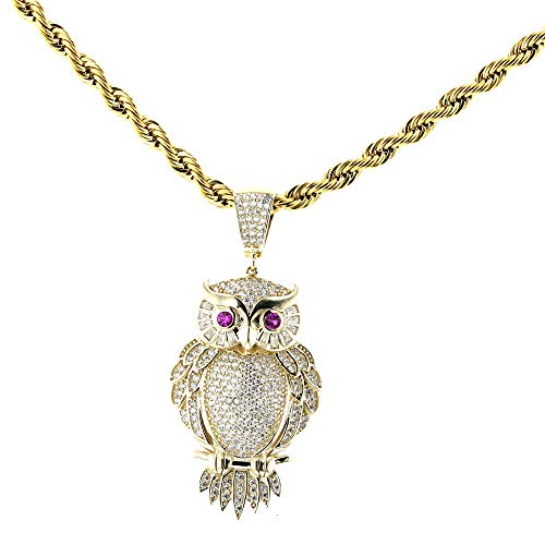 (DiamondJewelryNY Owl Pendant, 14kt Gold Owl Pendant with 24