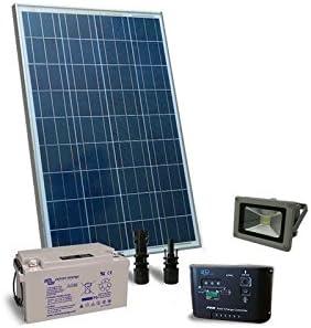 PuntoEnergia Italia - Kit de iluminación solar 80W 12V aire libre LED Faro Fotovoltaica Bateria 22Ah - KIE-80-B22