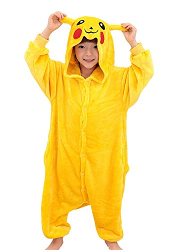 Tonwhar Pikachu Kigurumi Costumes for Children Kids Cuddly Onesie Pajamas (105(height:45.27