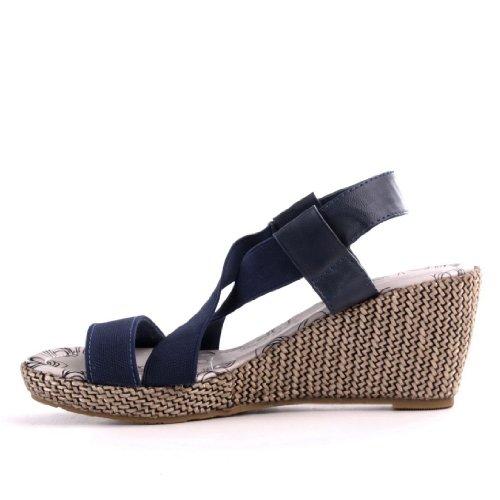 Damen Schuhe, PUMPS, KEIL STRETCH, 316-18, Synthetik in hochwertiger Leder Optikund Stretch, Blau, Gr 38
