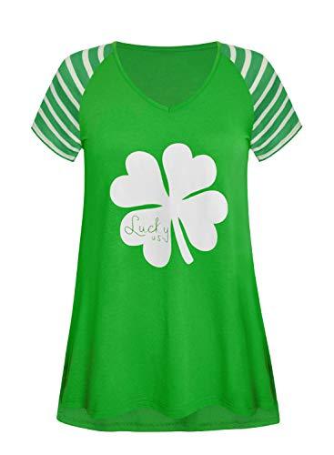 Women's Clover Floral Summer Tops Casual Short Sleeve T-Shirt Irish Green