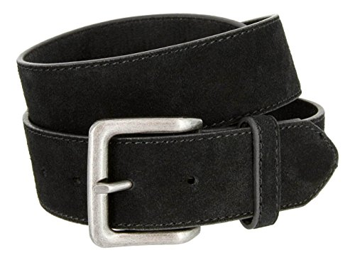 Square Buckle Casual Jean Suede Leather Belt for Men (Black, ()