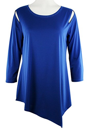 n Shoulder Royal Blue Long Sleeve Scoop Neck Tunic Top ()