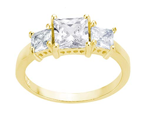 CloseoutWarehouse Princess Cut Cubic Zirconia Three Stones Ring Yellow Gold-Tone Plated Sterling Silver Size 2