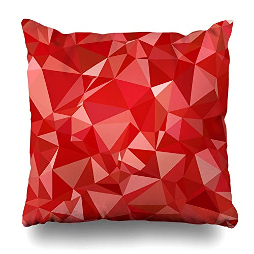 Ahawoso Decorative Throw Pillow Cover Luxury Pattern Red Polygonal Mosaic Creative Exterior Abstract Diamond Bright Counter Digital Design Home Decor Zippered Square Size 18