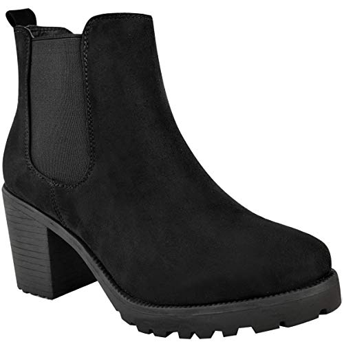 Heelberry Womens Ladies Block Heel Chelsea Ankle Boots Thick Sole Pull On Winter Shoes New Black Faux Suede
