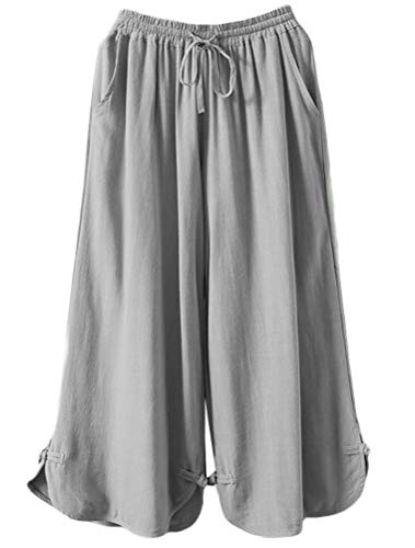 Minibee Women's Linen Cropped Pants Drawstring Waist Wide Leg Trousers with Frog Button (XL, Gray)