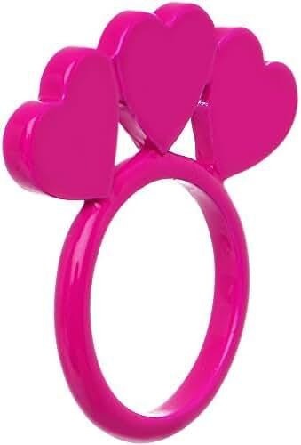 Size 6 Pink Neon Sweet Hearts Enamel Ring