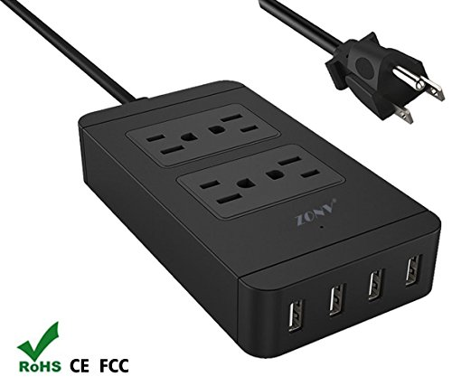 Power Strip with USB Father's Day Gifts, ZONV Smart 4 Outlet 4 USB Port Surge Protector 6ft Cord Charging Station 1250W 100-240V for Kindle, iPhone, iPad Air mini, Samsung Galaxy S7/S6 edge