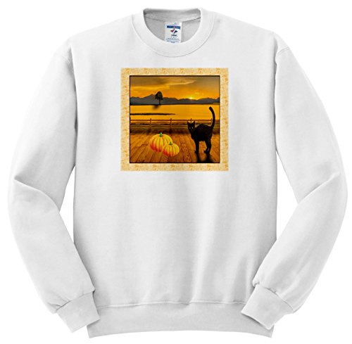 Beverly Turner Halloween Design - Black Cat on Deck with Pumpkins, Scenic Landscape, Sunset - Sweatshirts - Adult SweatShirt 2XL (ss_254540_5)