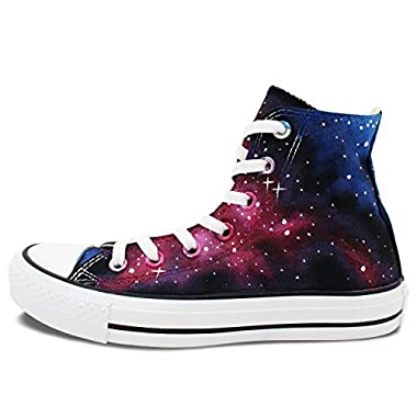 Converse All Star Purple Nebula Galaxy Hand Painted High Top Canvas Shoes Women Men Sneakers (M6.5/W8.5)