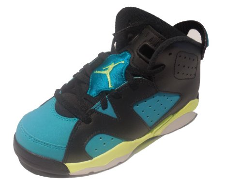 JORDAN Retro 6 (PS) Little Kids Style, Black/Volt Ice/Trb Green Black, 11.5 by Jordan