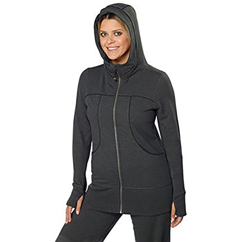 (Kirkland Signature Womens Full Zip Hoodie-Charcoal Grey, Medium)