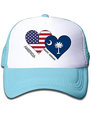 America South Carolina Flag Heart On Children's Trucker Hat, Youth Toddler Mesh Hats Baseball Cap