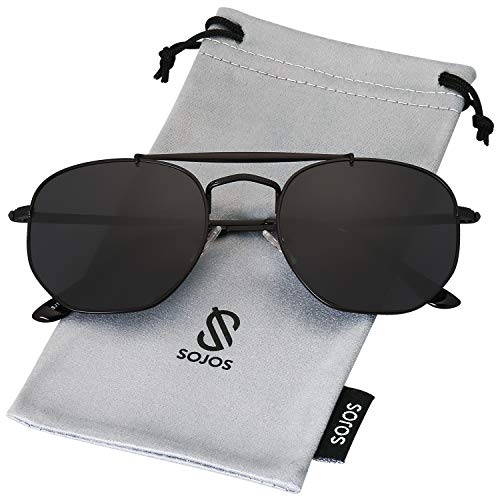 Black Lens Sunglasses - SOJOS Classic Aviator Polarized Square Sunglasses for Men and Women Mirrored Lens COLONEL SJ1122 with Matt Black Frame/Grey Polarized Lens