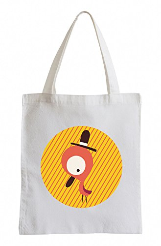 Raxxpurl Oranger Vogel mit Hut im Kreis Fun Jutebeutel