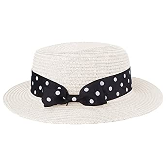Boater Hat Sombrero de paja para mujer Bowknot Round Flat Top Brim Sombrero de paja Summer Beach Sun Cap (9206 Blanco)