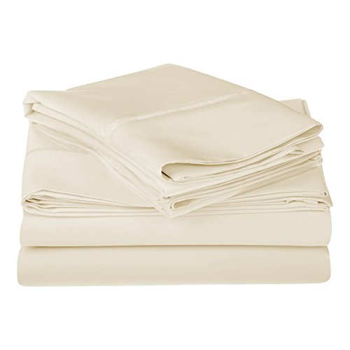 1200 Thread Count 100% Egyptian Cotton, Single Ply, King Bed Sheet Set, Solid, (Ivory Single Bed)