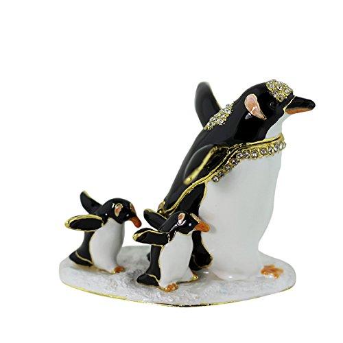 Austrian Crystal Jewelry Trinket Box (Penguin and Two Chicks Walking Trinket Box)