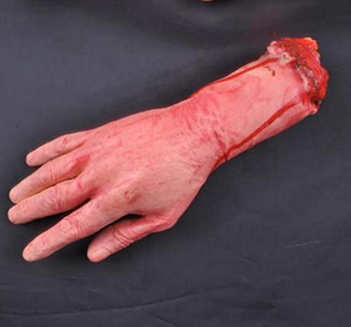 (Creative Home Supplies Realistic Latex Gory Human Arm Hand Fake Hand Scary Bloody Body Parts Halloween Props Costume Deserve to)