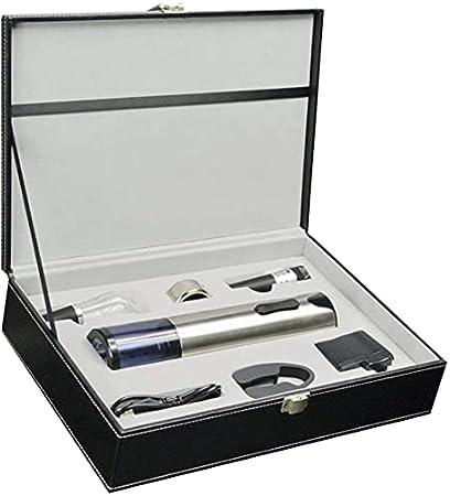 Sacacorchos eléctrico de acero inoxidable con luz azul, caja de piel de gama alta para regalo