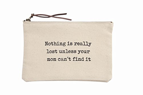 Mud Pie 4023008F Women's Fashion Mother Mom Canvas Pouch Case, One Size, Off-White