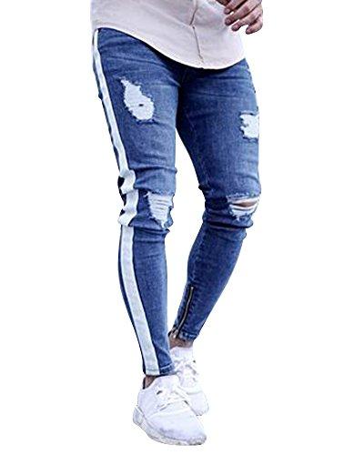 Da Cerniera Pantaloni Fit Con Caviglia Jeans Chiaro Uomo Slim Alla Strappati Azzurro Moto U1wUqOX