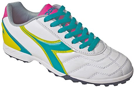 Diadora Women's Capitano LT Soccer Turf Shoes, White/Teal, 6 M US