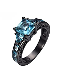 Luxussay Aquamarine Women Band 14KT Black Gold Filled Brildal Wedding Rings