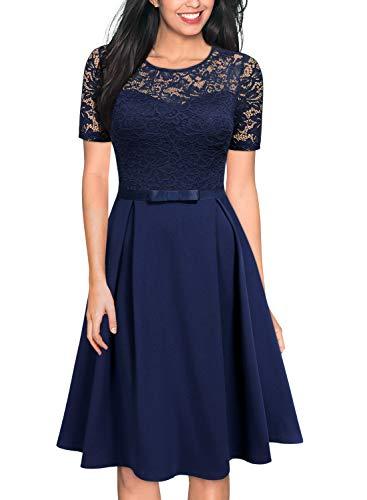 MISSMAY Women's Vintage Floral Lace Scoop Neck Short Sleeve Cocktail Party Swing Dress, Medium, Navy Blue
