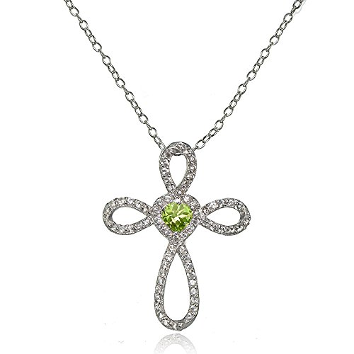 Lovve Sterling Silver Peridot & White Topaz Heart Infinity Cross Necklace