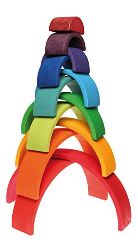 Grimm's Large 12-Piece Rainbow Stacker - Wooden Nesting Puzzle/Creative Building Blocks