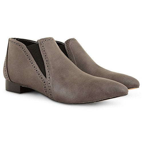 Mujer Mujer Dolcis punta Toe Slip On plano Chelsea Brogue Botines Zapatos Gris - gris